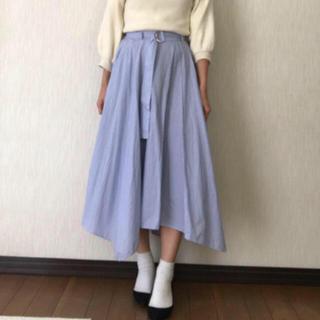 ザラ(ZARA)のストライプ柄 フレアスカート ベルト付き キレイ目スカート(ひざ丈スカート)