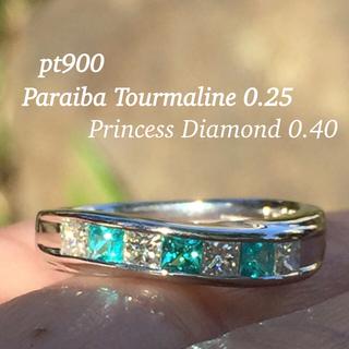 pt900 純真な煌めき パライバトルマリン ダイヤモンド リング(リング(指輪))