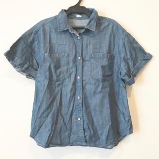 ジーユー(GU)のGU ジーユー デニムビックスリーブシャツ 半袖 ブルー(シャツ/ブラウス(半袖/袖なし))
