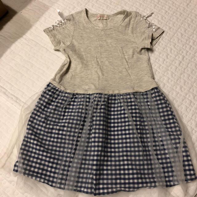 WILL MERY(ウィルメリー)の子供服 ワンピース チェック柄 レース リボン 半袖 ひらひら キッズ/ベビー/マタニティのキッズ服 女の子用(90cm~)(ワンピース)の商品写真