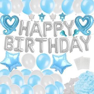 誕生日 飾り付け バルーン バースデー ブルー セット 135(モビール)
