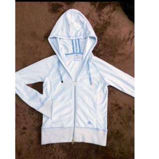 アディダス(adidas)のアディダス タオル地 パーカー 水色 ライトブルー ラメ ロゴ刺繍(パーカー)