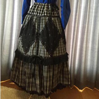 アルゴンキン(ALGONQUINS)の□◇◾︎チェック  黒×白 サテンリボン 裾レース ロングスカート◾︎◇□(ロングスカート)