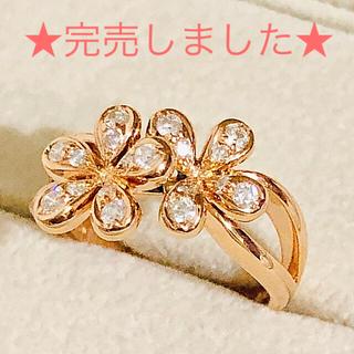ポンテヴェキオ(PonteVecchio)の新品同様★ポンテヴェキオ★ダイヤモンド★フラワー★18K★PG★リング★指輪★(リング(指輪))