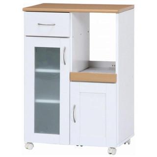 不二貿易 キッチンカウンター サージュ 幅60cm ホワイト ナチュラル(棚/ラック/タンス)