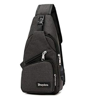 Dxyizu黒色ボディバッグ ショルダーバッグ メンズ 斜め掛け ワンショルダー(メッセンジャーバッグ)
