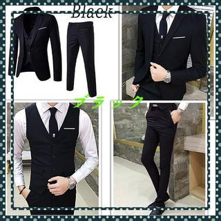スーツ3点 セット 春夏 細身 オルチャン 韓国 ブラック  サイズ:L(セットアップ)