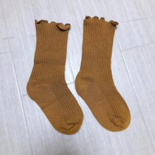 【難あり】子供用L(約13cm)4~7歳 フリルソックス2WAY キャメル(靴下/タイツ)