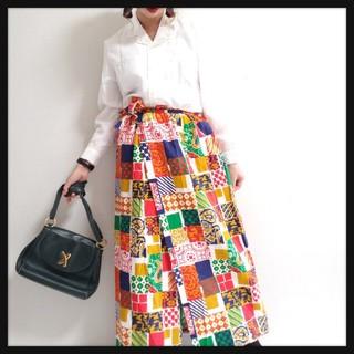 値下げ可◆*US古着//個性派エスニックアート柄巻きスカート*◆(ロングスカート)
