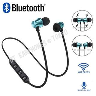 ★メタリック・ブルー マグネット付 Bluetooth ワイヤレス イヤホン(ヘッドフォン/イヤフォン)
