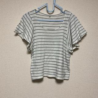 ケービーエフ(KBF)のKBF ボーダー フレアスリーブ Tシャツ(Tシャツ(半袖/袖なし))