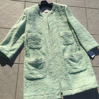 ザラ(ZARA)のザラ、ZARA、ミントカラーコート、ツィードジャケットタグ付新品未使用(ロングコート)