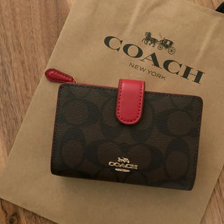 コーチ(COACH)の新品!コーチ 二つ折り財布 レッド(財布)