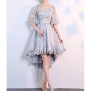 大きいサイズ ドレス 前短後長 グレー (ミディアムドレス)