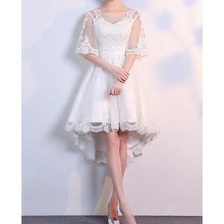 大きいサイズ ドレス 前短後長 ホワイト(ミディアムドレス)