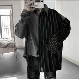 ★即購入OK!!★ストライプ柄 折襟 ストリート系 オーバーサイズ 韓国シャツ(シャツ)