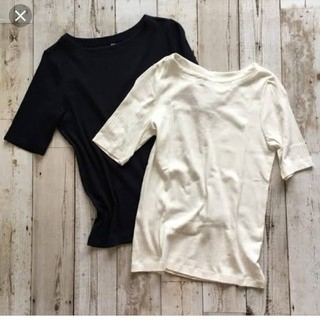 ユニクロ(UNIQLO)のユニクロリブボートネックTシャツ(Tシャツ(半袖/袖なし))