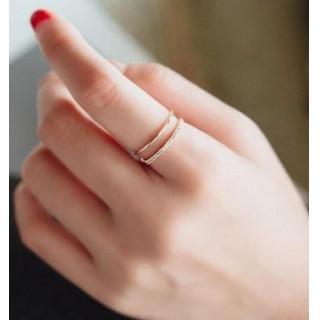 新品〔ピンクゴールド〕フリーサイズ ラインストーン リング 指輪(リング(指輪))