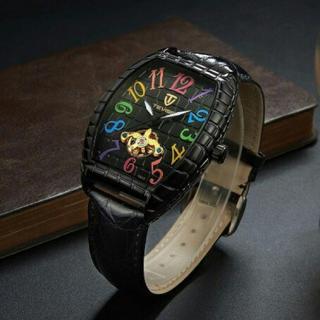 新品  正規品TEVISE クロコダイル ラグジュアリー自動巻き腕時計 黒(腕時計(アナログ))