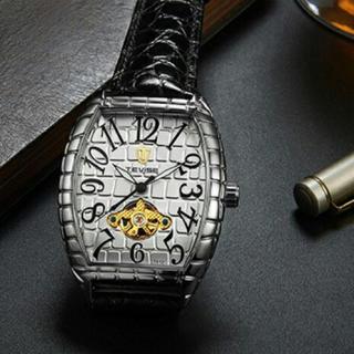 新品  正規品TEVISE クロコダイル ラグジュアリー自動巻き腕時計シルバー(腕時計(アナログ))