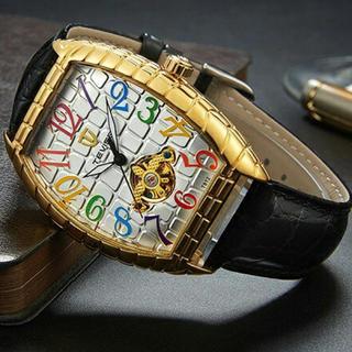 新品  正規品TEVISE クロコダイル ラグジュアリー自動巻き腕時計 金白(腕時計(アナログ))