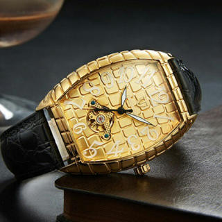 新品  正規品TEVISE クロコダイル ラグジュアリー自動巻き腕時計ゴールド(腕時計(アナログ))