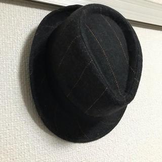 中折れハット 帽子 ブラックチェック チャコール 男女兼用 ソフトハット 戻り(ハット)