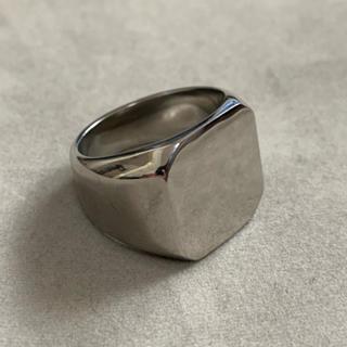 STAINLESS STEEL スクエア型カレッジリング シルバー(リング(指輪))