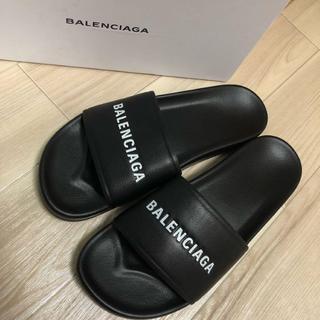 バレンシアガ(Balenciaga)のBALENCIAGA バレンシアガ フラットサンダル レザーサンダル 靴 黒42(サンダル)