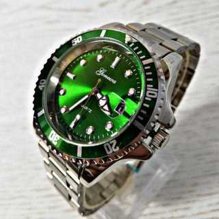 Gemeva 腕時計 メンズ ウォッチ エメラルドグリーン シルバー ステンレス(腕時計(アナログ))