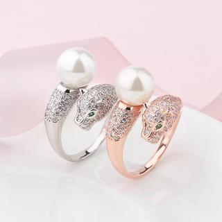 レア商品♡ジルコニア付きパール&豹リング♡フリーサイズ(リング(指輪))
