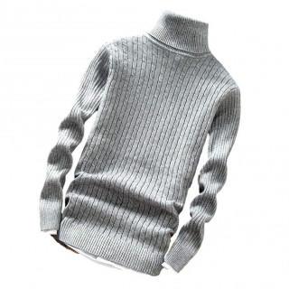 ハイネック スリム ケーブル ニット セーター メンズ(ニット/セーター)