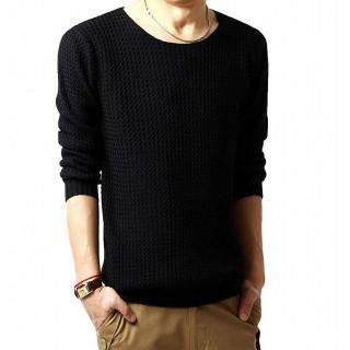 セーター ニット クルーネック プルオーバー シンプル ベーシック 長袖 トップ(ニット/セーター)