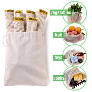 巾着袋 7枚セット 野菜保存袋 ネット袋 SML三つのサイズ 3(エコバッグ)
