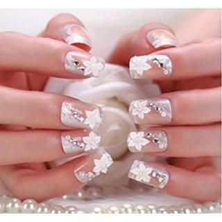 ネイルチップ つけ爪 白 3D デコレーション 花 フラワー ウエディング(つけ爪/ネイルチップ)