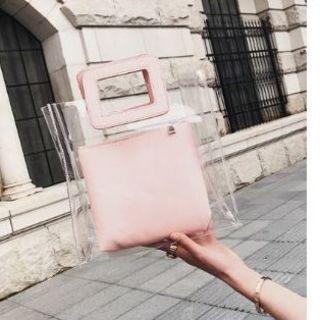 ザラ(ZARA)のクリアバッグ ピンク 海外旅行 ポーチ トート 透明 スケルトン バッグ ,(ハンドバッグ)