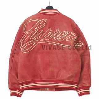 シュプリーム(Supreme)のSupreme Leather Varsity Jacket 赤XL(レザージャケット)