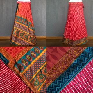 インド サリー 巻きスカート #38 紅 * ボヘミアン ジプシー boho(ロングスカート)