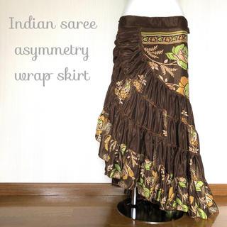 インドサリー アシンメトリー 巻きスカート #61* ボヘミアン ヒッピー(ロングスカート)