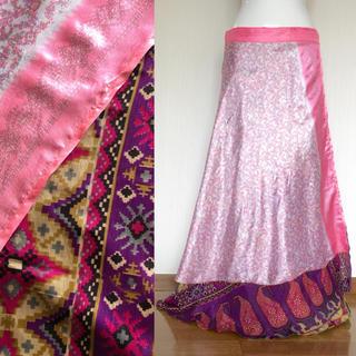 インド サリー 巻きスカート #50 * ボヘミアン ジプシー boho(ロングスカート)