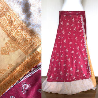 インド サリー 巻きスカート #48 * ボヘミアン ジプシー boho(ロングスカート)
