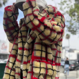 Double Breasted Plaid Faux Fur Coat 白M