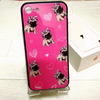 ピンク パグ  ガラス ❤︎ iPhone7/8 ケース おしゃれ(iPhoneケース)