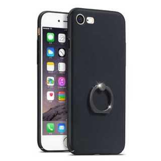 スマホ ケース ブラック iPhone 超薄 スタンドリング付き シンプル 保護(iPhoneケース)