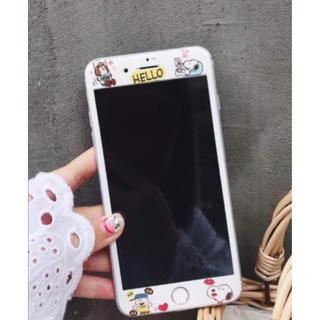 iPhone☆スヌーピー☆強化ガラスフィルム HELLO(保護フィルム)