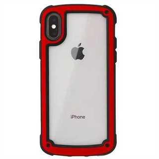 レッド iphone7/8iphoneケース シンプル バイカラー(iPhoneケース)