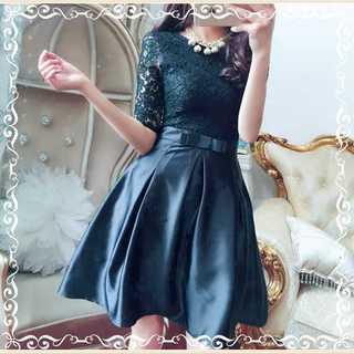 レース 花柄 ワンピースドレス ウエストリボン ブラック(ミディアムドレス)