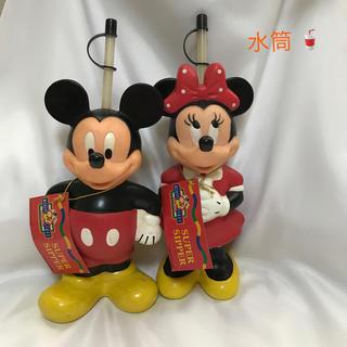 ディズニー(Disney)の【新品未使用タグ付】ストロー付き ミッキー&ミニー 水筒(水筒)