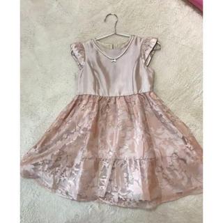 エニィファム(anyFAM)のanyFAM オンワード ピンクサテン花柄ドレス 130(ドレス/フォーマル)