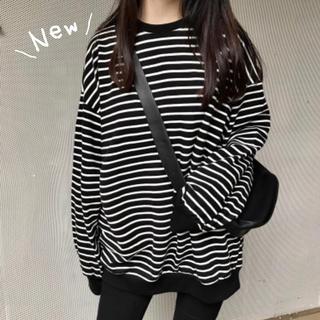 【再販♡】ロングTシャツ ビッグサイズ 韓国 ボーダーロンT ロンT ゆったり(Tシャツ(長袖/七分))